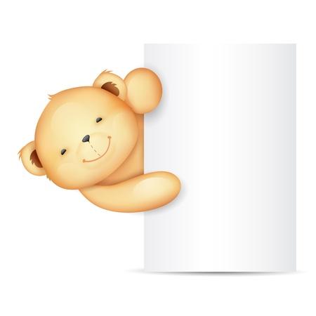 cachorro: ilustración del oso de peluche lindo que sostiene tablero en blanco