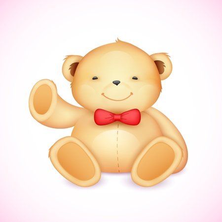 illustration of cute teddy bear waving hand Vector