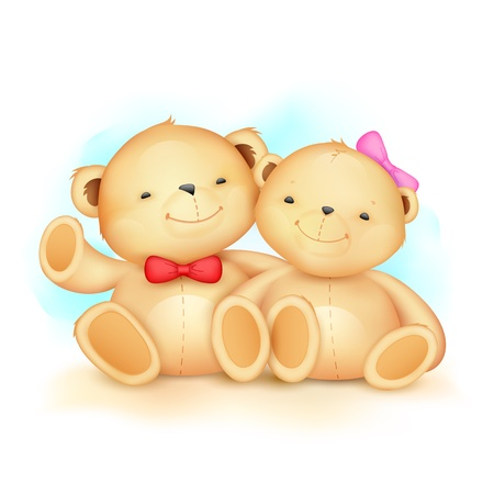 illustration of cute couple of teddy bear waving hand Illustration