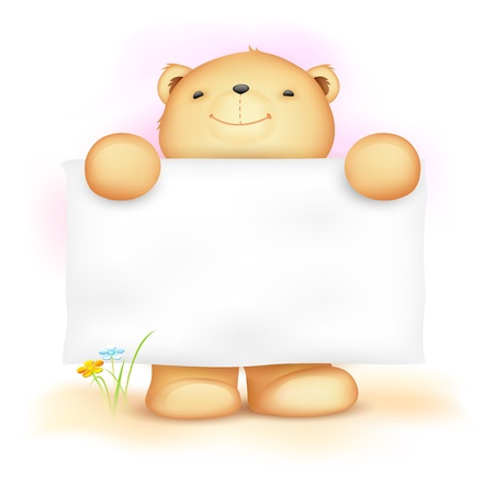 signboard: illustration of cute teddy bear holding blank board