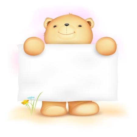 letrero: ilustración del oso de peluche lindo que sostiene tablero en blanco