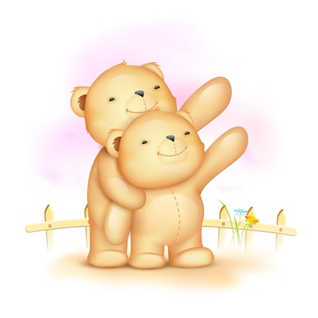 illustration of cute teddy bear couple waving hand Vector