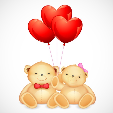 illustration of cute couple of teddy bear holding heart shaped balloon Vector