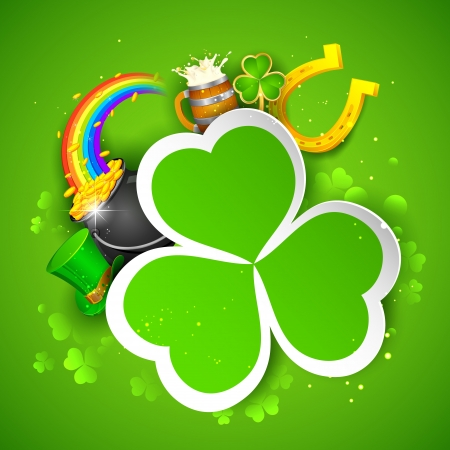 illustration of Saint Patricks Day background with clover leaf and gold coin Vector