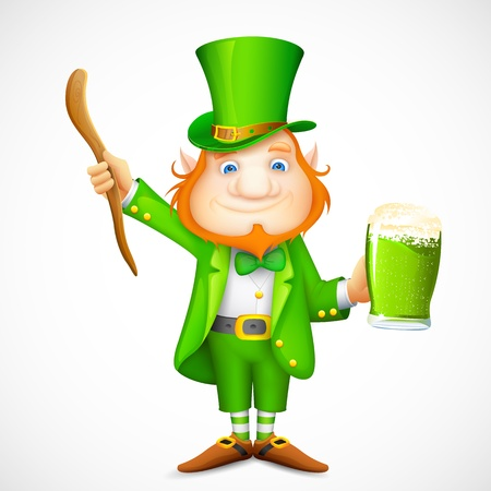 leprechaun background: illustration of Leprechaun with beer mug wishing saint patricks day