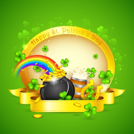 illustration of Saint Patricks Day background with clover leaf and horse shoe Vector