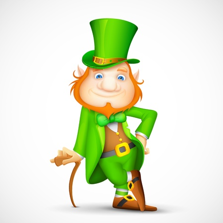 irish background: illustration of Leprechaun with walking stick for Saint Patricks day
