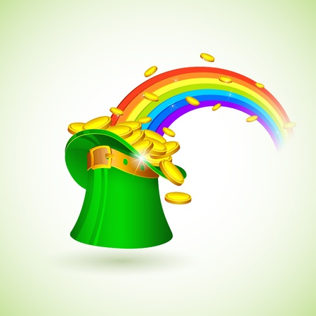illustration of rainbow coming out from Saint Patricks hat filled with gold coins Vector