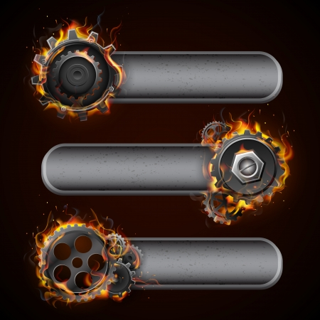 engineering design: illustration of fire flame in cog wheel with copy space Stock Photo