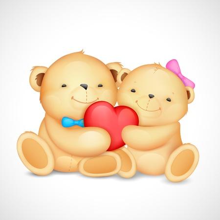 teddy bear: illustration d'un couple mignon de coeur en peluche ours �treignant