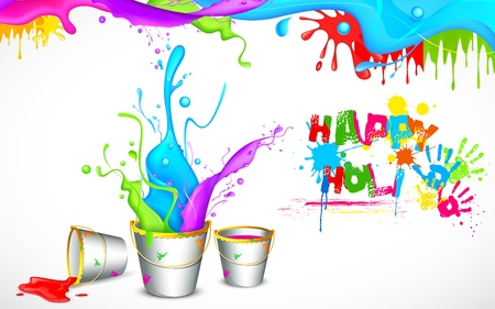illustration of bucket full of color in Holi background Vector