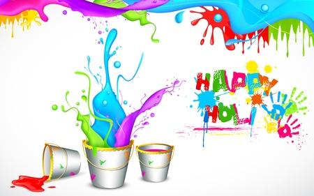 ilustraci�n de cubo lleno de color en el fondo Holi