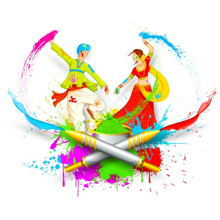fun festival: illustration of couple playing Holi with color and pichkari