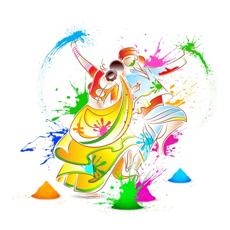 krishna: illustratie van paar spelen Holi met kleur