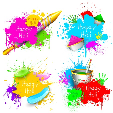 rang: illustration of set of Holi splash with pichkari and gulal