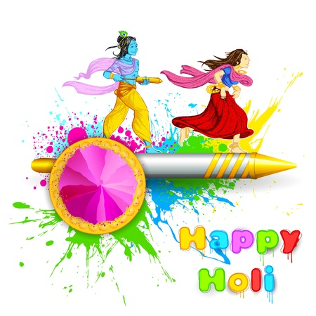 illustration of Radha and Lord Krishna playing Holi