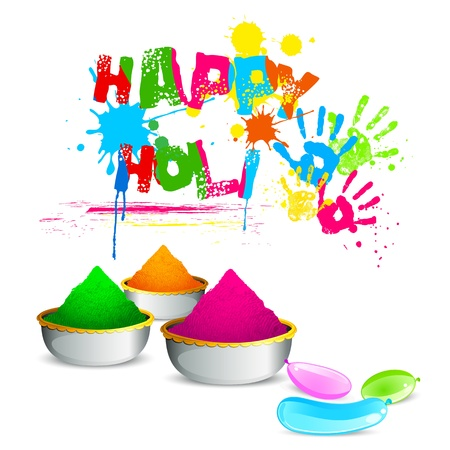 illustration of bowl full of colorful gulal for Holi background Vector