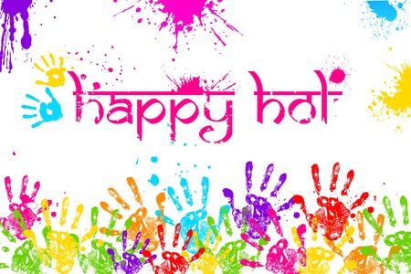 dhulandi: illustration of colorful hand print in Happy Holi background