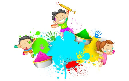 illustration of kids playing Holi with color and pichkari Stock Vector - 18131908