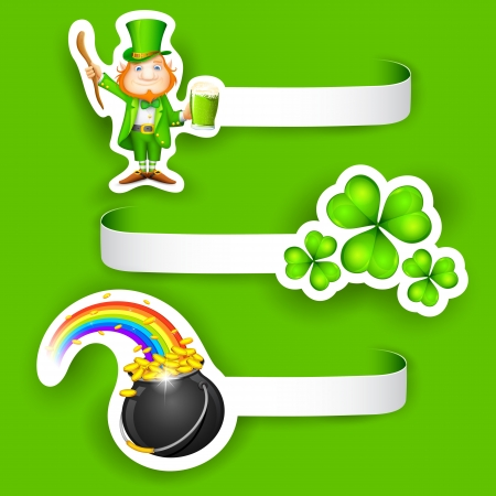 lucky man: illustration of set of Saint Patrick s Day Label