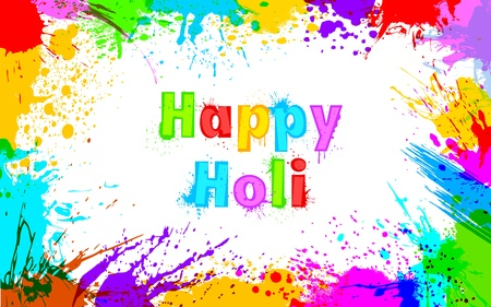 illustration of colorful grunge frame for Holi background Vector