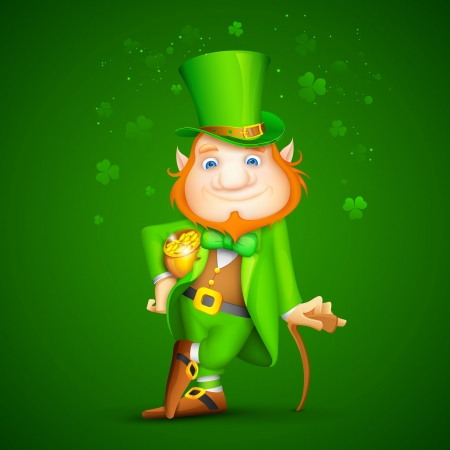 leprechaun hat: illustration of Leprechaun with walking stick for Saint Patrick s day