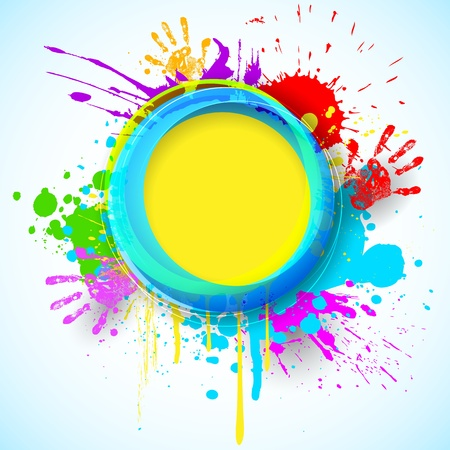 illustration of holi background with hand print and colorful grunge Stock Vector - 18366038