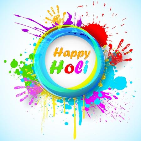 happy holi: illustration of holi background with hand print and colorful grunge Illustration