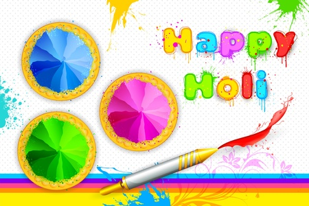 panchami: illustration of bowl full of colorful gulal for Holi background