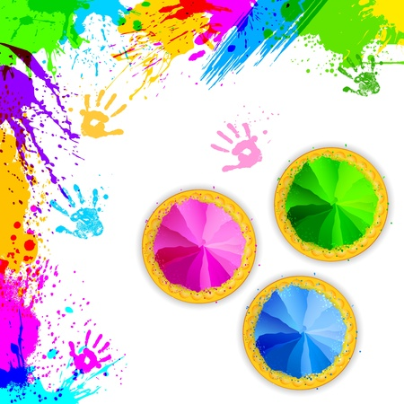 dhulandi: illustration of bowl full of colorful gulal for Holi background