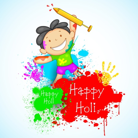 illustration of kids playing holi with color and pichkari illustration