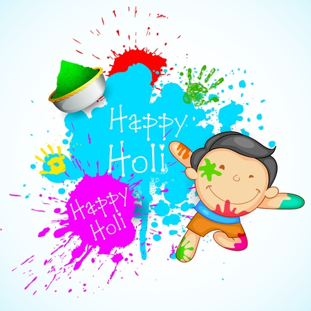 indian boy: illustration of kids playing holi with color and gulal