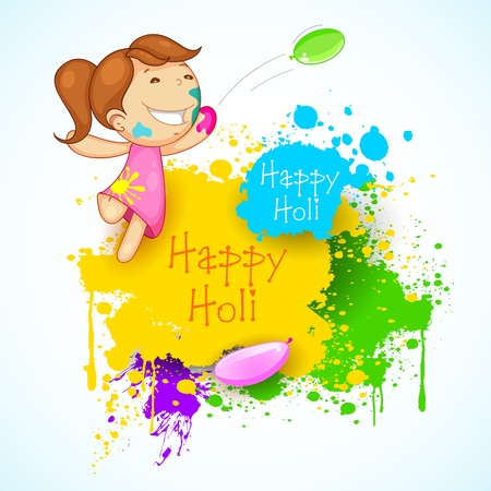illustration of kids playing holi with color and balloon Vector