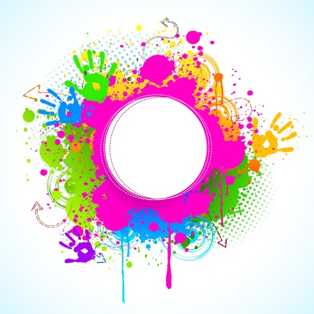 dhulandi: illustration of holi background with hand print and colorful grunge Illustration