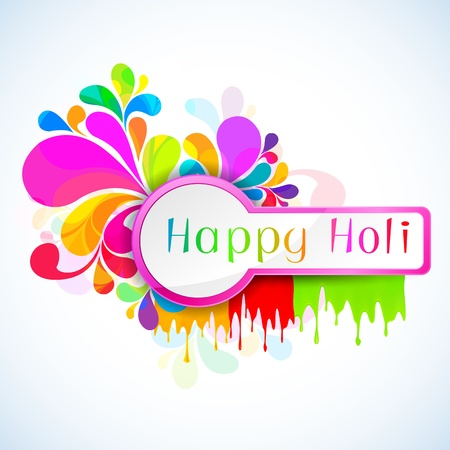 happy holi: illustration of colorful color splash in Holi background Illustration