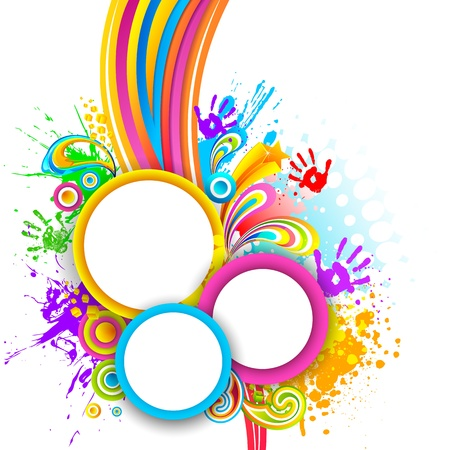 rang: illustration of holi background with hand print and colorful splash