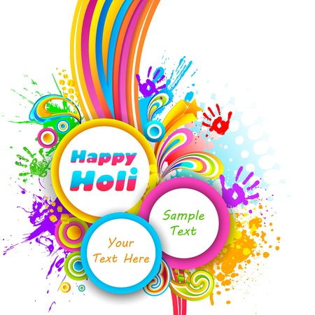 dhulandi: illustration of holi background with hand print and colorful splash