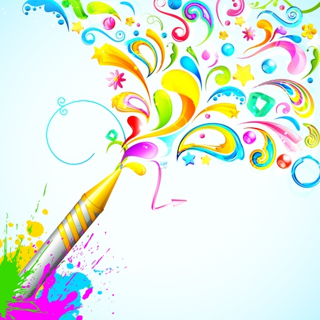 dhulandi: illustration of colorful floral swirl around Holi pichkari Illustration