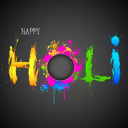 illustration of holi background with hand print and colorful grunge Vector