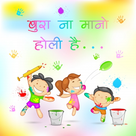 occassion: illustration of kids playing holi with color and pichkari