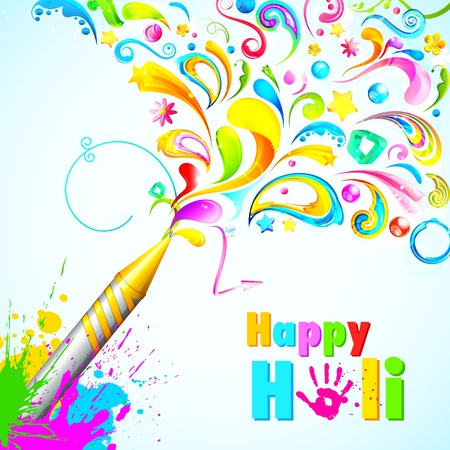 rang: illustration of colorful floral swirl around Holi pichkari Stock Photo