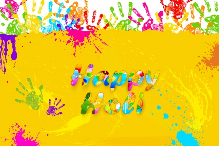 rang: illustration of colorful hand print in Happy Holi background