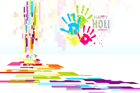 illustration of Holi wallpaper with colorful hand prints Vector