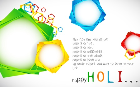 rang: illustration of origami chat bubble in colorful Holi wallpaper Illustration