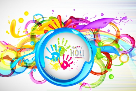 illustration of colorful splash in Holi wallpaper Stock Illustration - 18404619