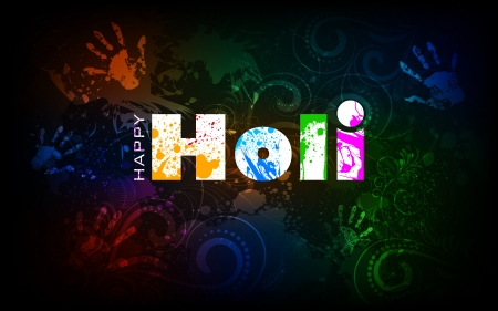 illustration of holi background with hand print and colorful grunge Stock Vector - 18404618