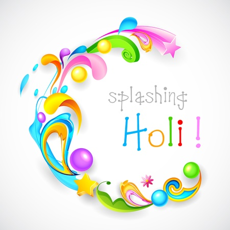 illustration of colorful color splash and floral in Holi background Vector