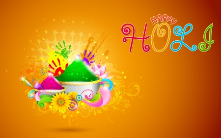 thali: illustration of bowl full of colorful gulal for Holi background
