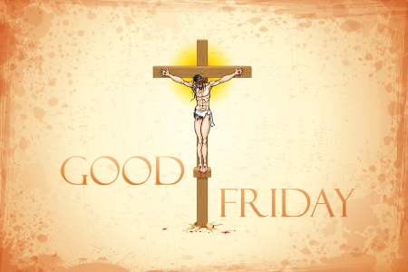 illustration of Jesus Christ on cross on Good Friday background Vector