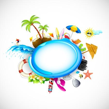packing suitcase: illustrazione di vacanza sulla spiaggia del mare